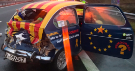 El 600 independentista, accidentado en su regreso de Bruselas / TWITTER