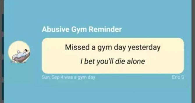 Notificaciones de la aplicación Abusive Gym Reminder / ABUSIVE GYM REMINDER
