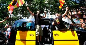 Taxistas de Barcelona en una protesta en defensa del sector / Atlas