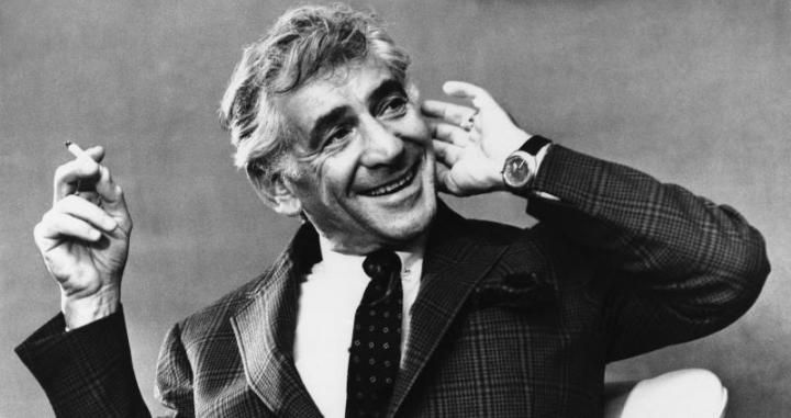 Leonard Bernstein smiles as he listens to a question put to him at his press reception at the Savoy Hotel M London, April 4, 1972.