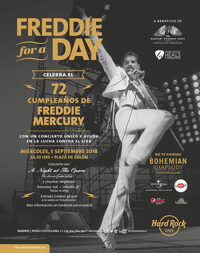 Cartel de 'Freddie for a day' / HARD ROCK CAFE
