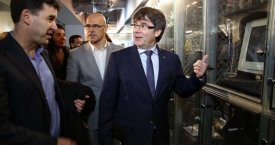El presidente Carles Puigdemont, durante una visita al Cambridge Innovation Center de Boston / JORDI BEDMAR