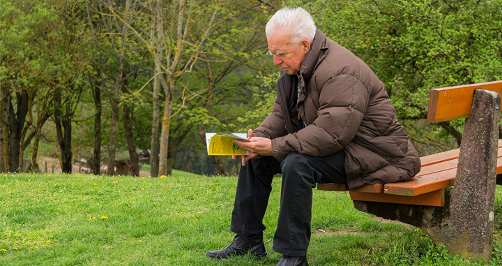 An old man reads a book in the park / PIXABAY
