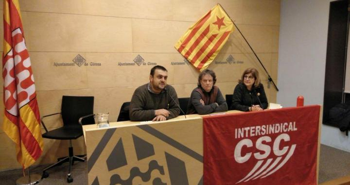 Los responsables de Intersindical-CSC en el anuncio de la convocatoria de la huelga general prevista para este jueves / INTERSINDICAL-CSC