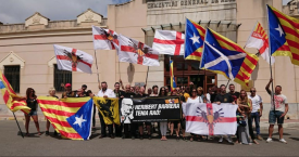 Manifestación del ultraderechista Moviment Identitari Català a favor de Heribert Barrera / TWITTER