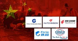 Las marcas China Construction Bank, Hutchinson, Air China, CTrip y Cosco Shipping sobre una imagen de las barricadas en Barcelona. Hong Kong / CG