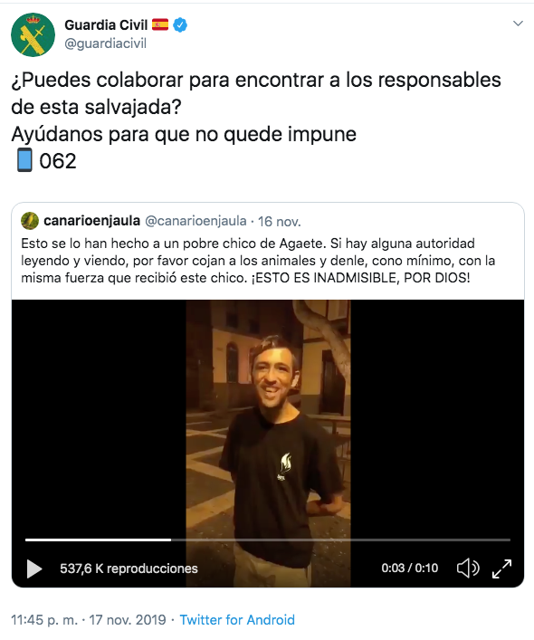 Tuit de la Guardia Civil con el vídeo de la agresión / TWITTER