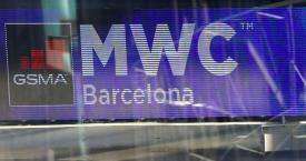 Panel del Mobile World Congress con el logo de su organizadora, GSMA