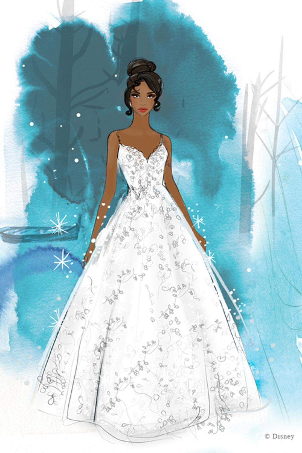 Boceto Vestido de Tiana  / Site Oficial Disney Weddings
