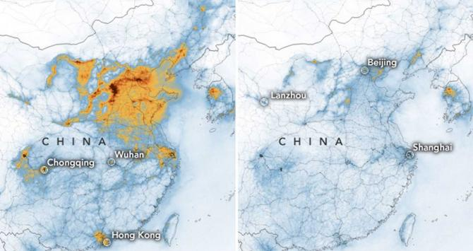 Mapa de la contaminación en China / NASA