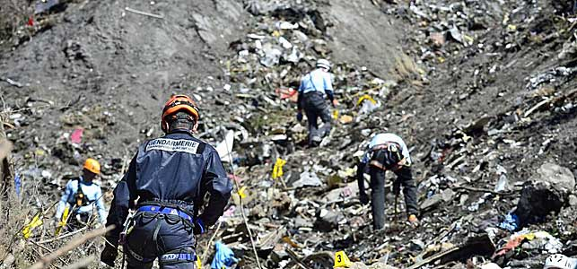 Lugar del accidente del avión de Germanwings en los Alpes